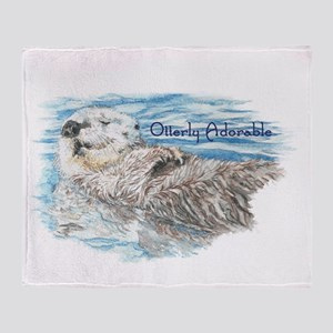Otterly Adorable Humorous Cute Otter Animal Throw